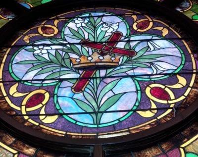 cross and crown church stained glass repair by mccully art glass & restorations lafayette indiana