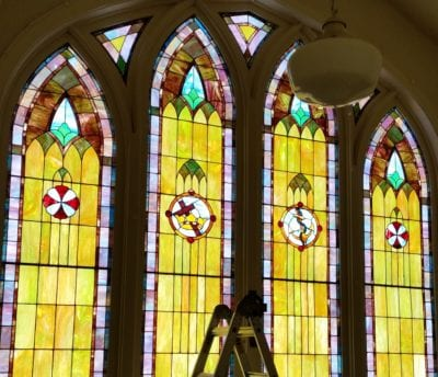 custom stained glass panels beauifully restored by mccully art glass & restorations lafayette indiana