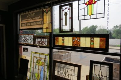 mccully art glass & restorations of lafayette indiana stained glass display