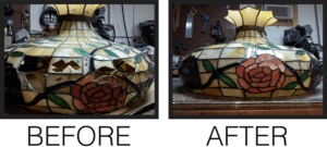 before and after tiffany stained glass repairs by mccully art glass & restorations lafayette indiana
